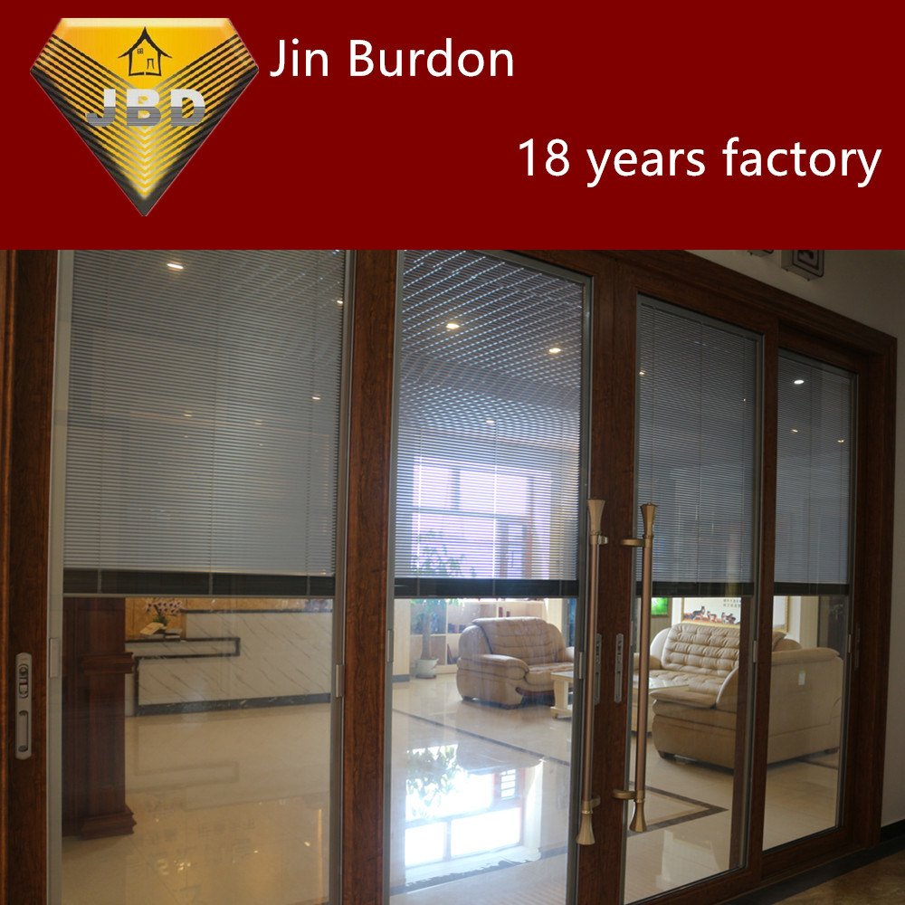 China Hot Sale Aluminum Alloy Double Glazing Sliding Door With Wood