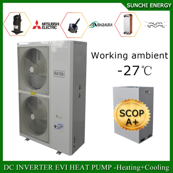 Amb. -25c Winter Floor Heating Room 12kw/19kw 220V R407c Condensor Split Evi Air Source Heat Pump System