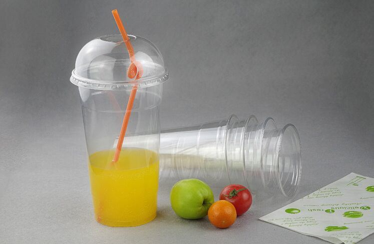 Disposable Customized Plastic Clear Juice Pet Cup with Dome Lid