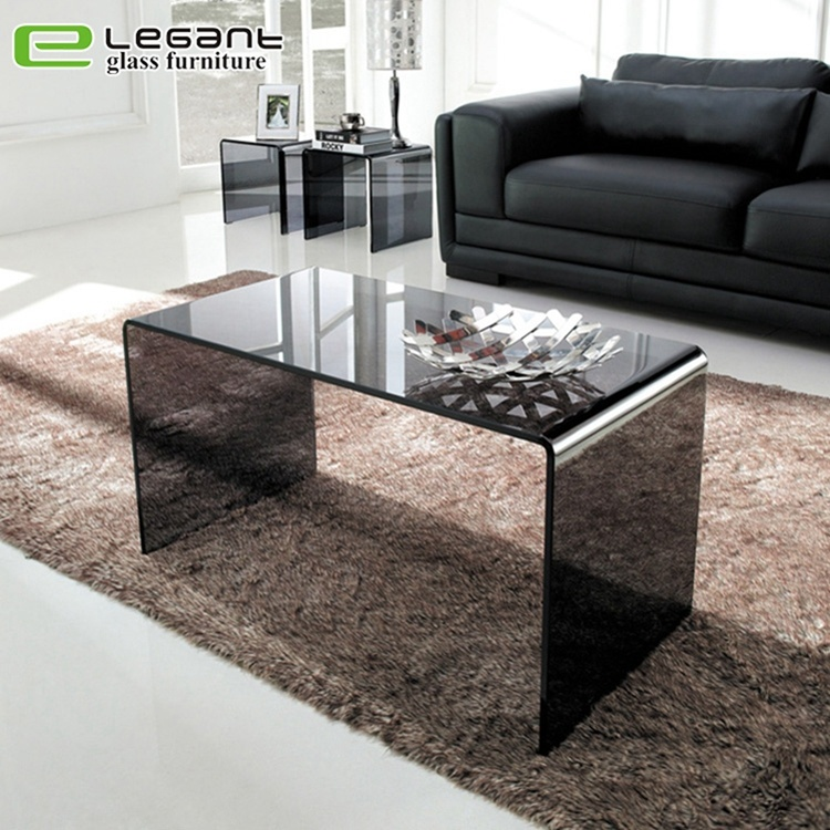 Modern Black Clear Glass Nest Of Table Factory Price