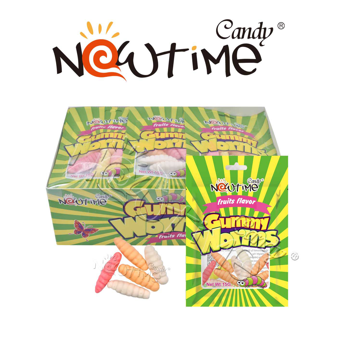 China Ntj18610 Mix Colorful Fruit Flavors Gummy Worm In Box