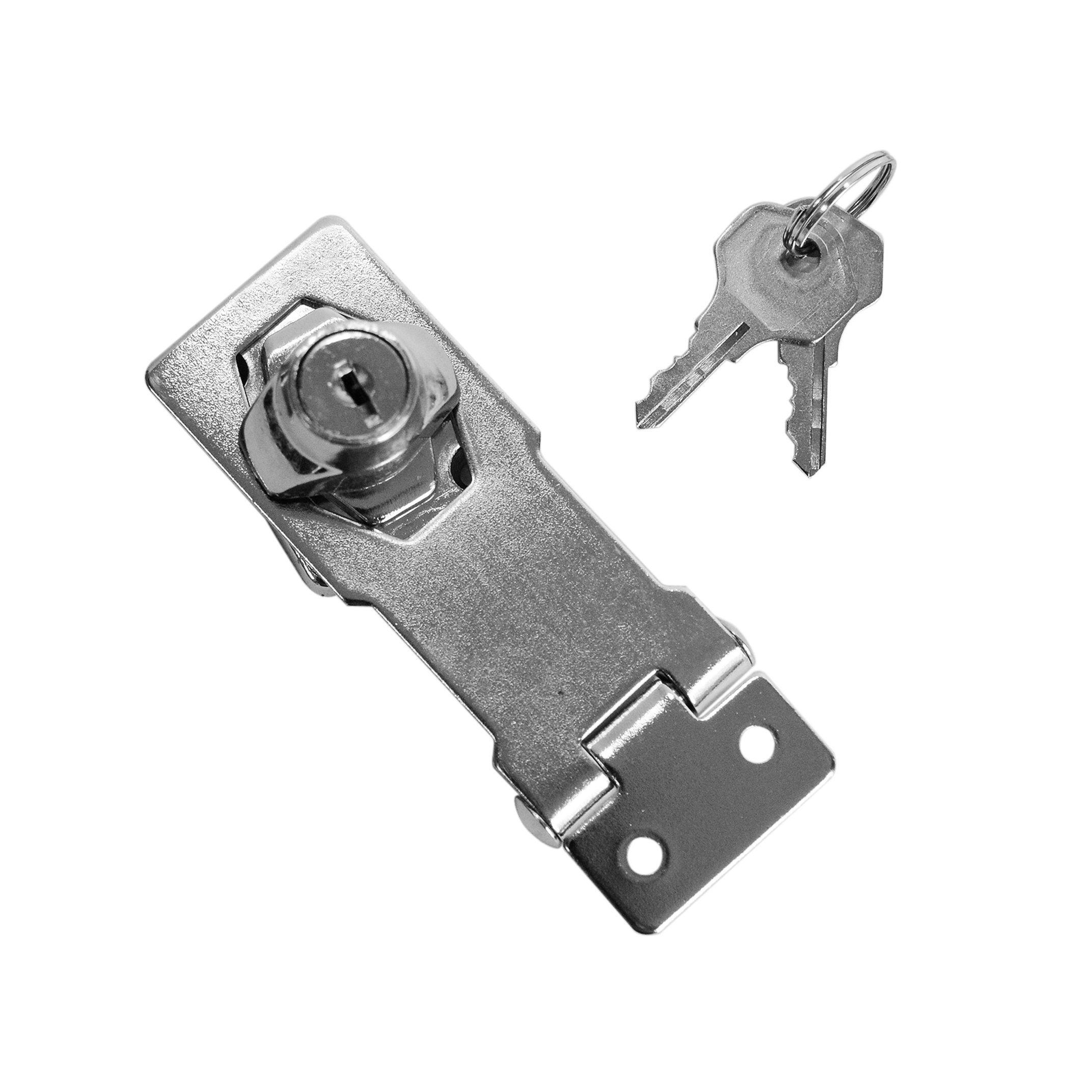 Hasp And Staple >> Hot Item Locking Hasp 4 Safety Door Zinc Keyed Hasp Staple Lock 100mm