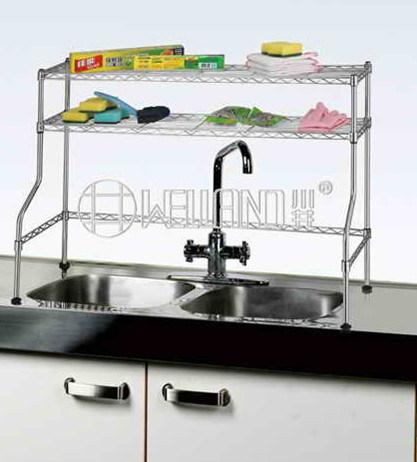 Hot Item Adjustable Stainless Steel Kitchen Over The Sink Shelf Rack