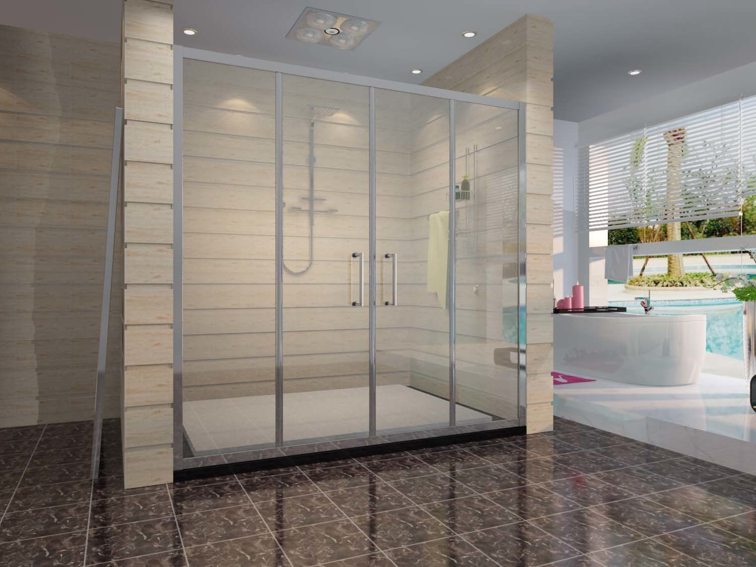 China Stronge Aluminum Tempered Glass Double Sliding Shower Door