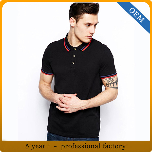 Custom 100% Cotton Men Black Polo Shirt pictures & photos