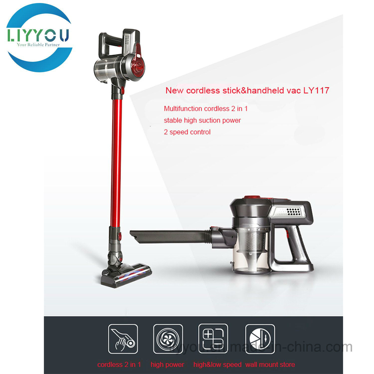 Ly17 Lightweight Handheld Cordless Stick Vacuum Cleaner 2-in-1 for Pet Hair Hard Floor pictures & photos