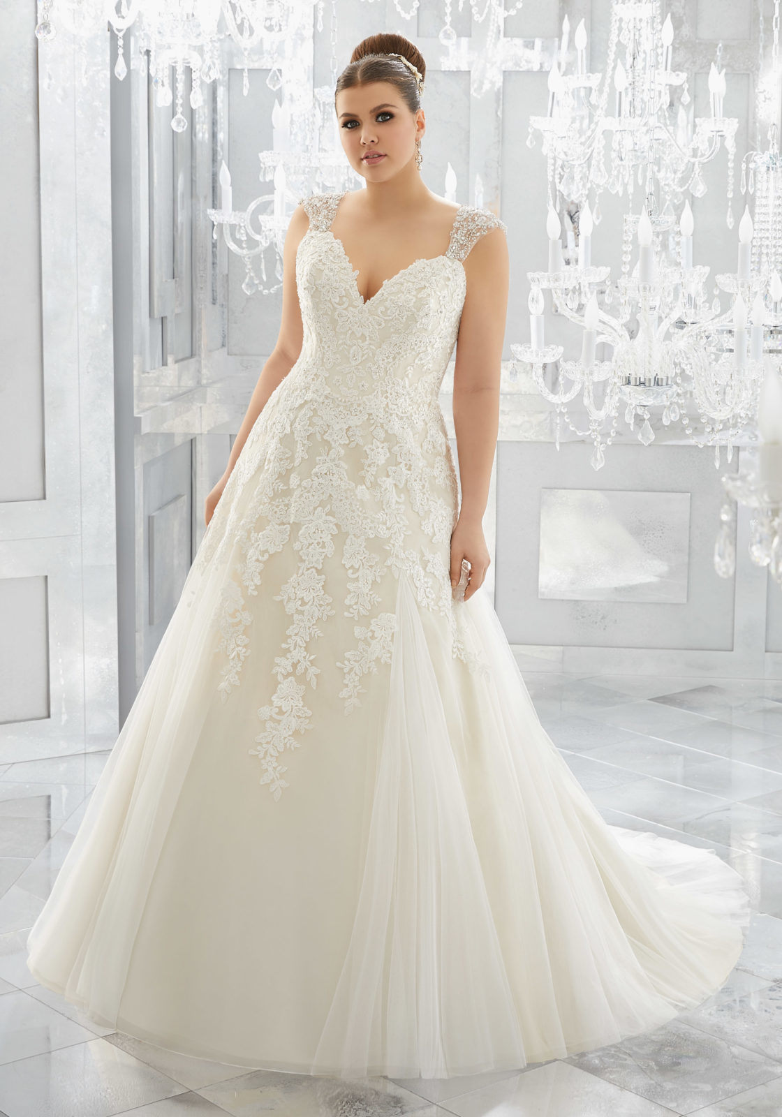 China Lace Bridal Gowns Plus Size Tulle A-Line Wedding ...