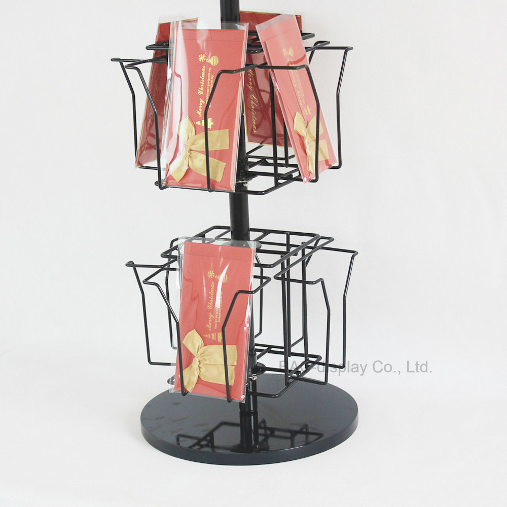 China 3 Layer Rotatable Greeting Card Display Stand Countertop Small