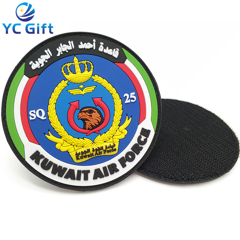 [Hot Item] Customized Kuwait Country Army Tactical Gear PVC Logo Clothing  Label Rubber Patches Label Printing for Souvenir (PT12)