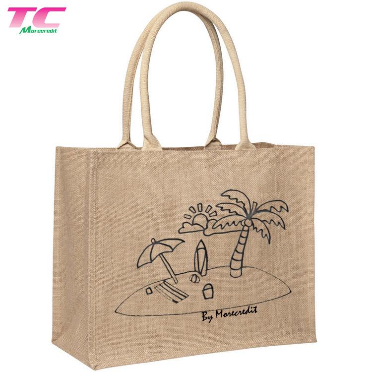 Hot Item Customized Natural Hemp Ping Bag Burlap Beach Hessian Jute Tote Bags With Handles