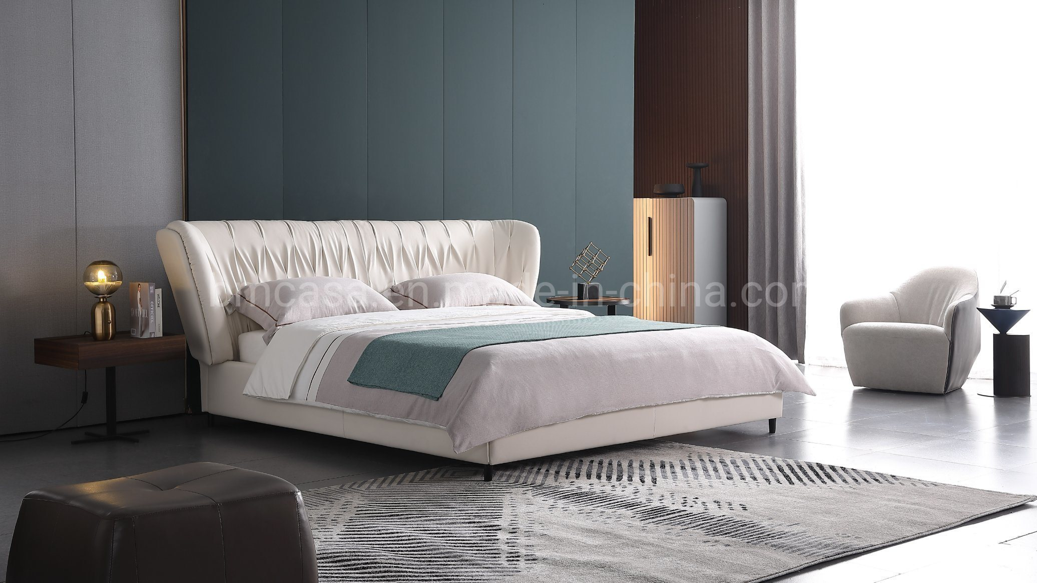 China Italian Modern Leather King Size Bed For Bedroom Furniture China Fabric Beds Living Room Furniture