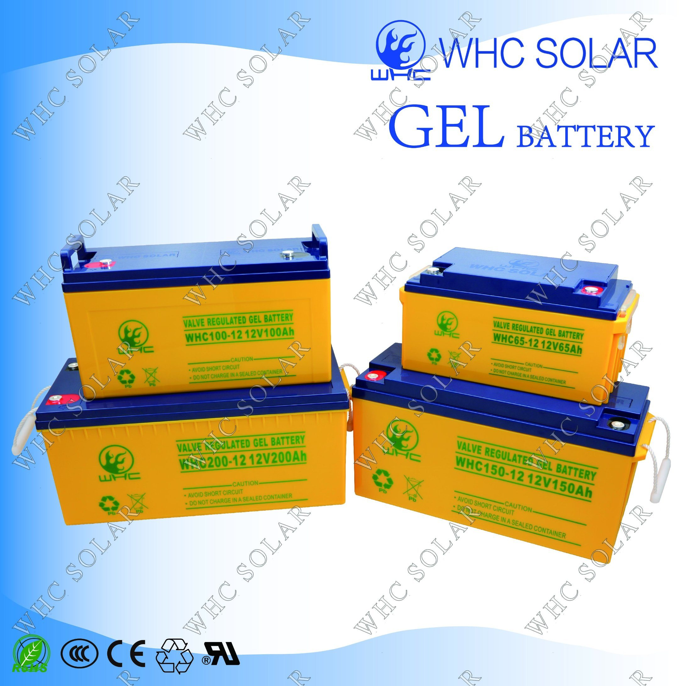 Whc 12V65ah Deep Cycle Gel Solar UPS Battery pictures & photos