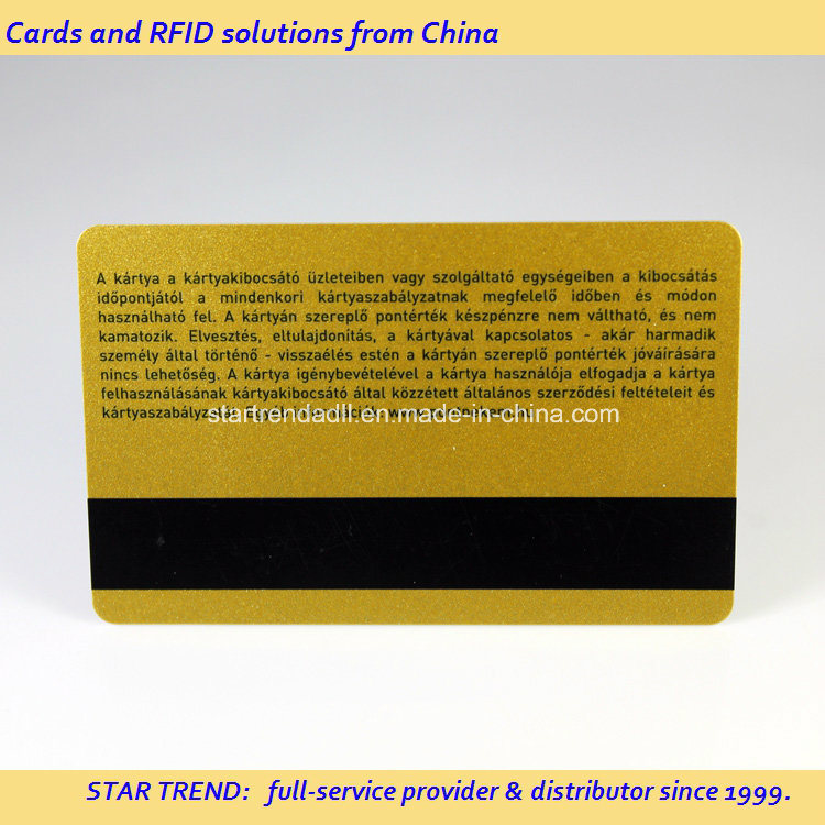 Gold Glitter Printied PVC Magnetic Stripe Card for Gift Card pictures & photos