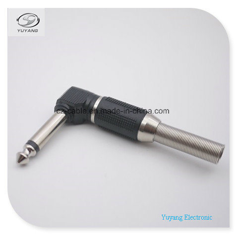 6.35mm/6.35 (1/4 inch) Mono Plug/Adapter Metal, Right Angle for Microphone/Speaker/Audio Cable pictures & photos