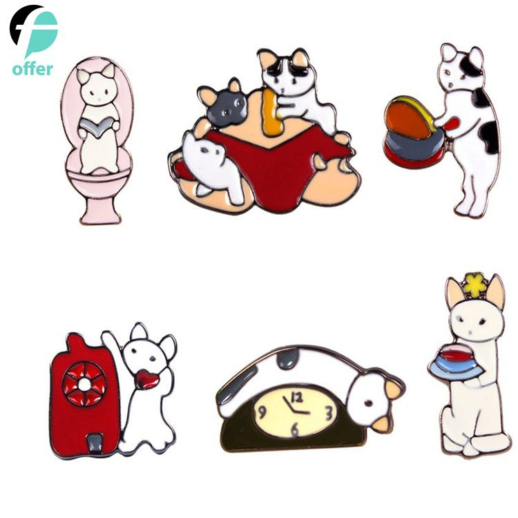 High Quality Cartoon Naughty Cat Metal Dripping Brooch pictures & photos