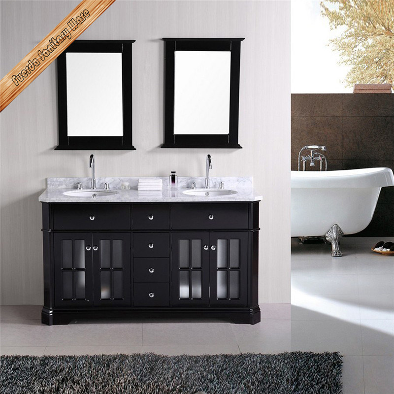 China Fed 1014 60inch Double Sinks Free Stading Espress Forst Glass Door Bathroom Vanity China Solid Wood Bathroom Vanity Hotel Style Bathroom Cabinet