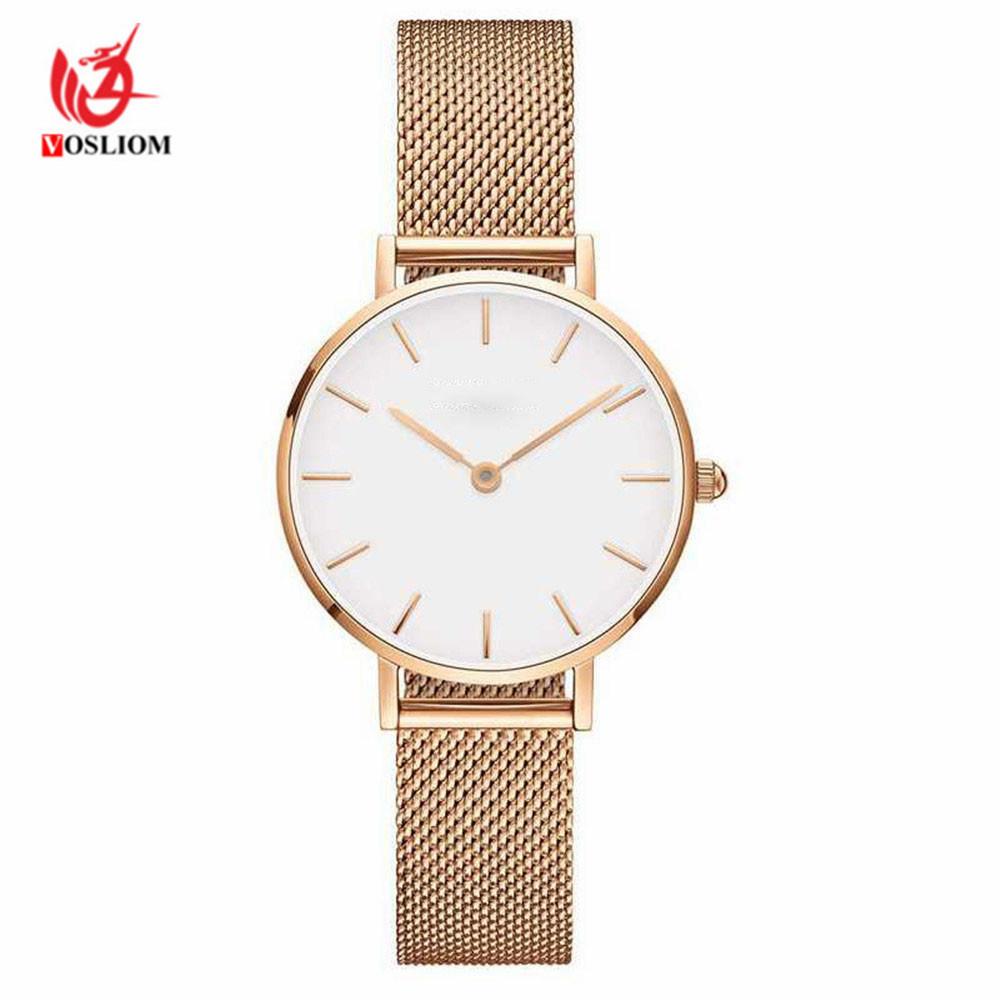 Lady Dress Watch Lovers Metal Mesh Band Fashion Quartz Wrist Watch Relogio Masculino Lover's Watches