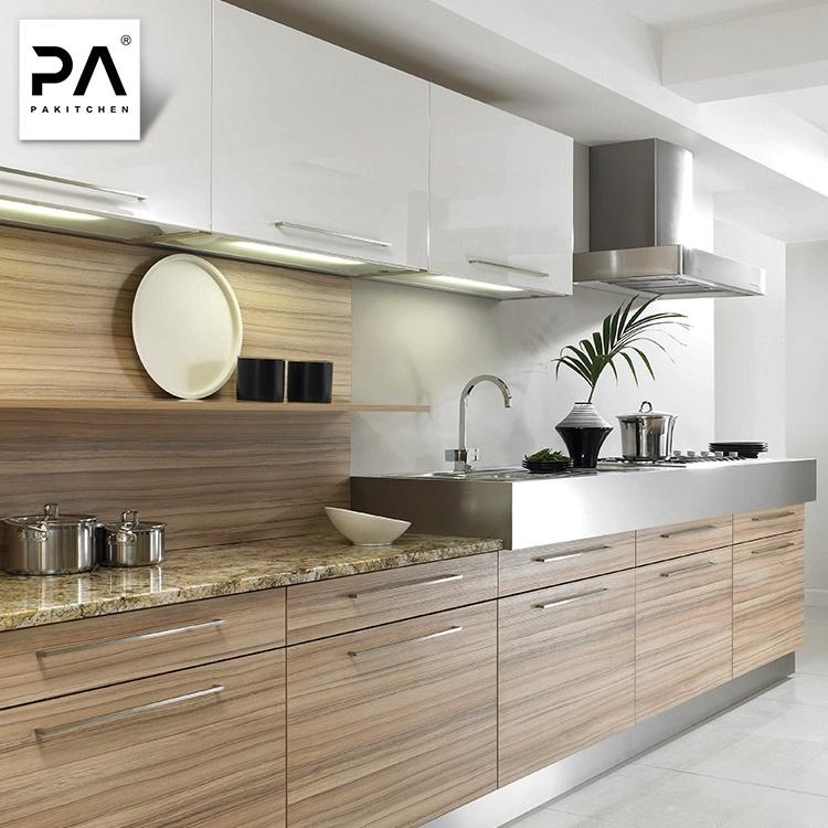 China Contemporary Luxury Wood Grain Laminate Kitchen Cabinets Design Pantry Cupboard China Kitchen Cabinet Kitchen Furniture