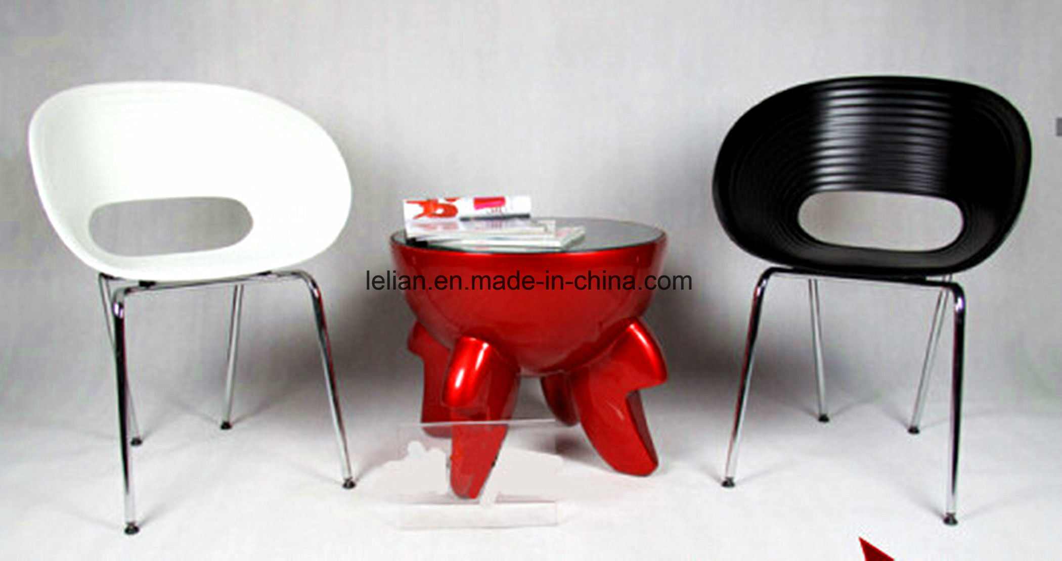 Colored Plastic Stack Eames Garden Coffee Chair with Armrest (LL-0049) pictures & photos