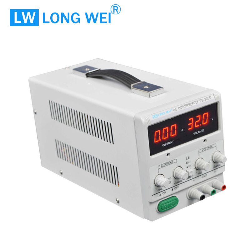 90W PS303D Variable Digital Linear DC Power Supply with Alligator Test Lead Set