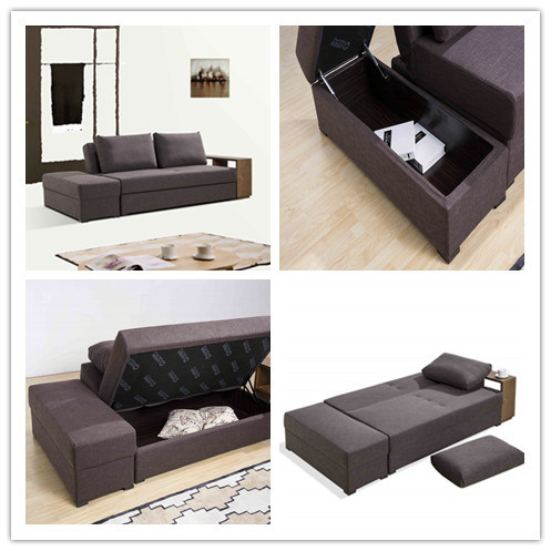 Sectional Sofa Bed with Coffee Table and Double Storage