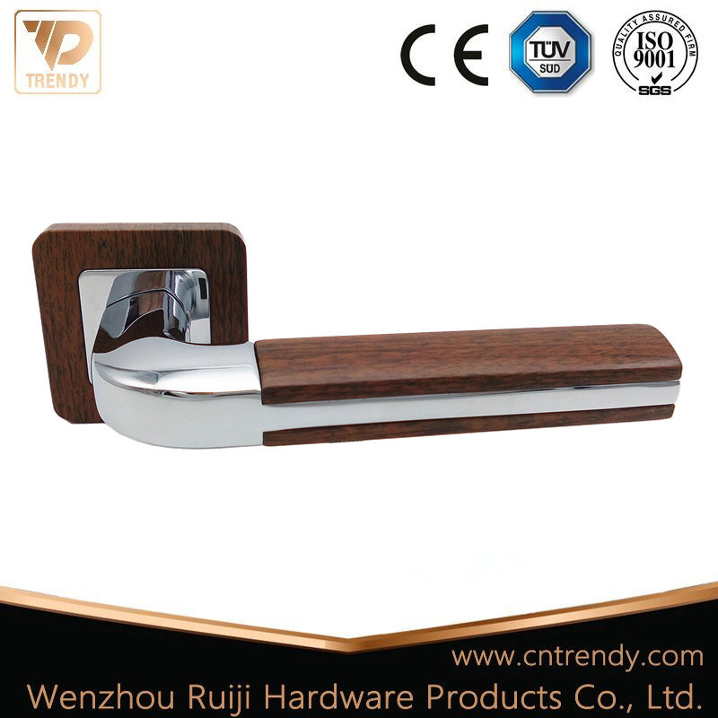 Hot Item High Quality Wooden Finish Hollow Lever Door Handle On Radius Rose