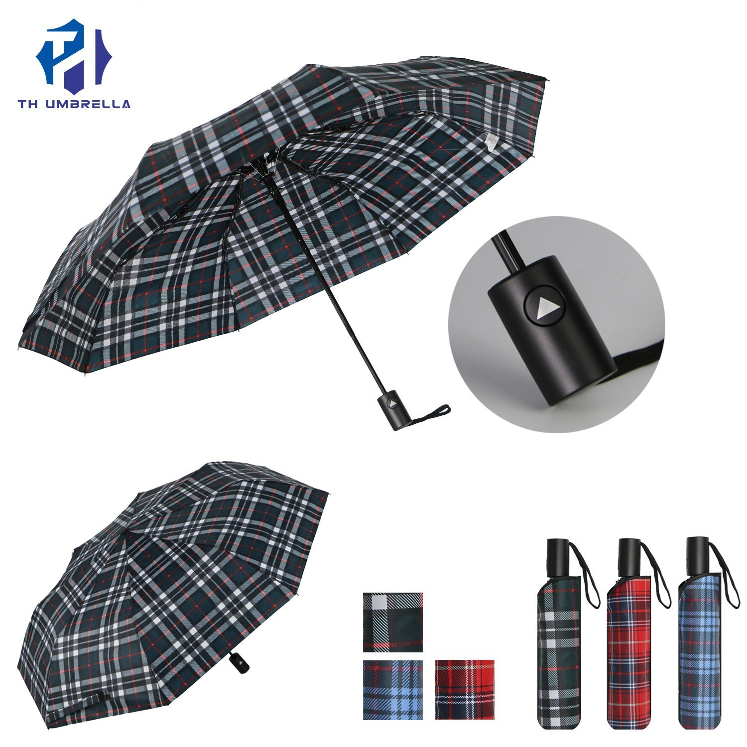 3 Fold Auto Open Grid Printing Promotion Umbrella