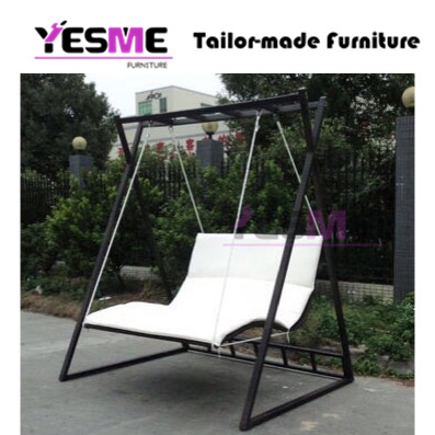 China Outdoor Garden Hammock Swing Chair Metal Frame Canopy Garden Swing With Cushion China Stackable Outdoor Resort Furniture