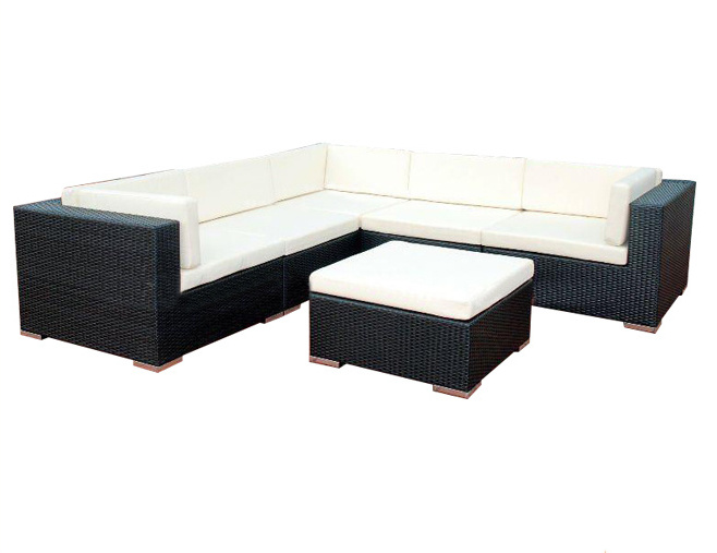 [Hot Item] Outdoor Garden Balcony Furniture Black Wicker Home Use Corner  Sofa Set