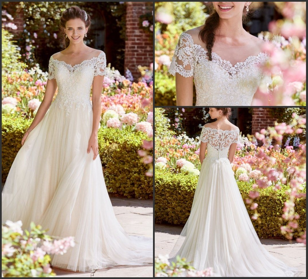 [Hot Item] Lace Bridal Gowns Short Sleeves A,Line Tulle Beach Wedding  Dresses Y18301