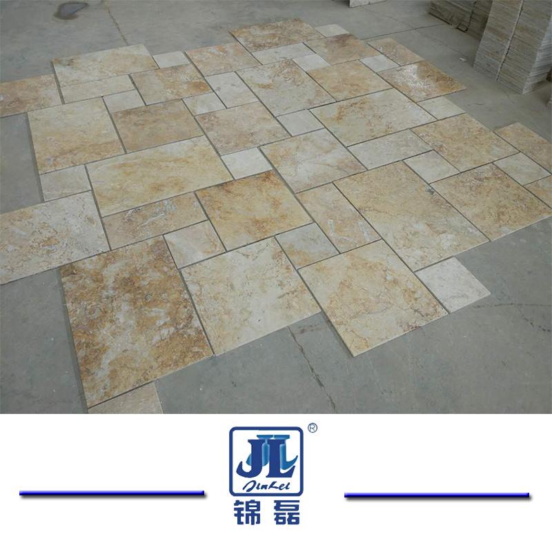 Hot Item Natural Honed French Cut Beige Travertine For Kitchen Bathroom Livingroom Swimming Pool Floor Tile Mosaic Tile Fireplace Slab Tile
