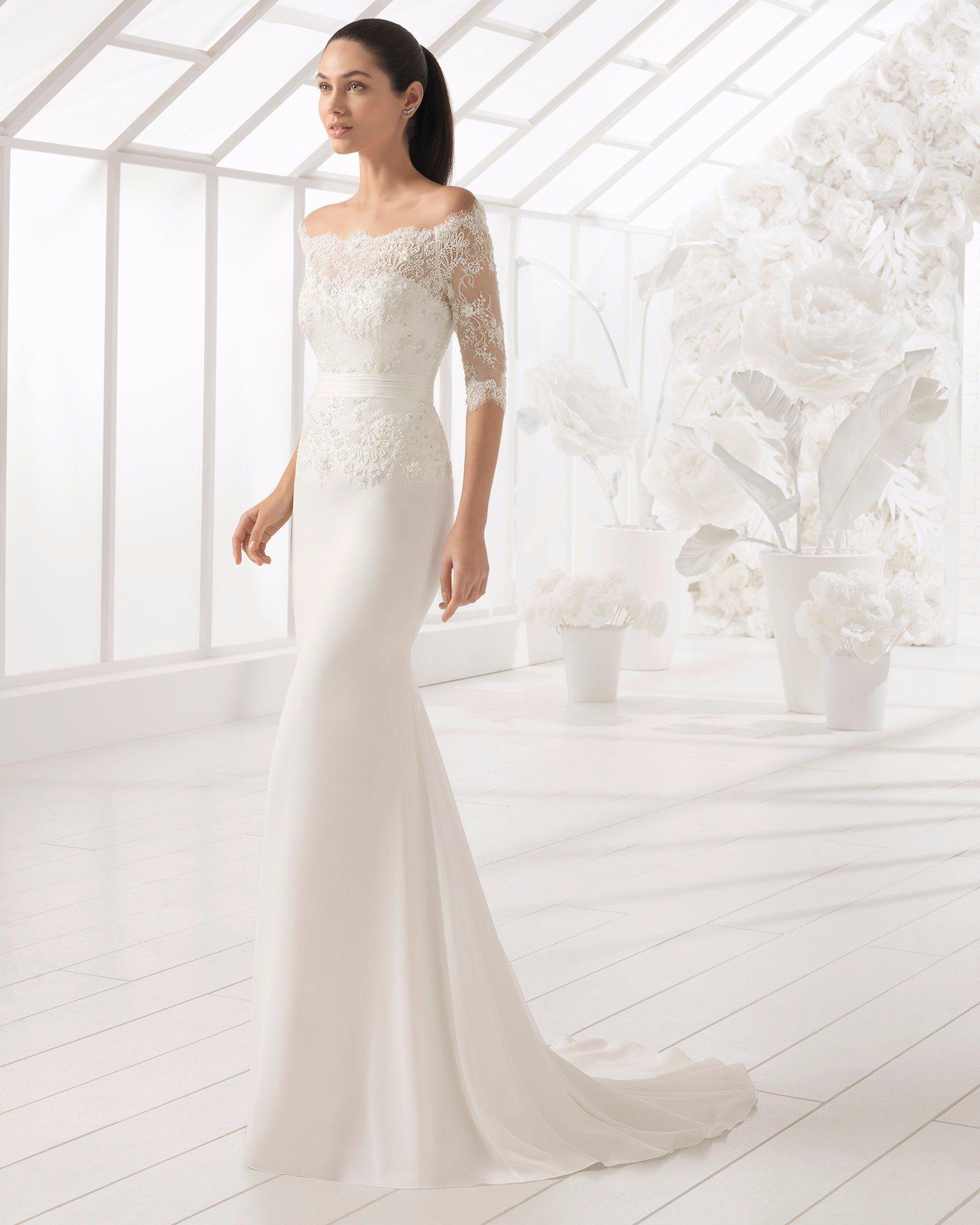 Shanghai Story Off Shoulder Wedding Gown for Bridal Half Sleeve Wedding Dress
