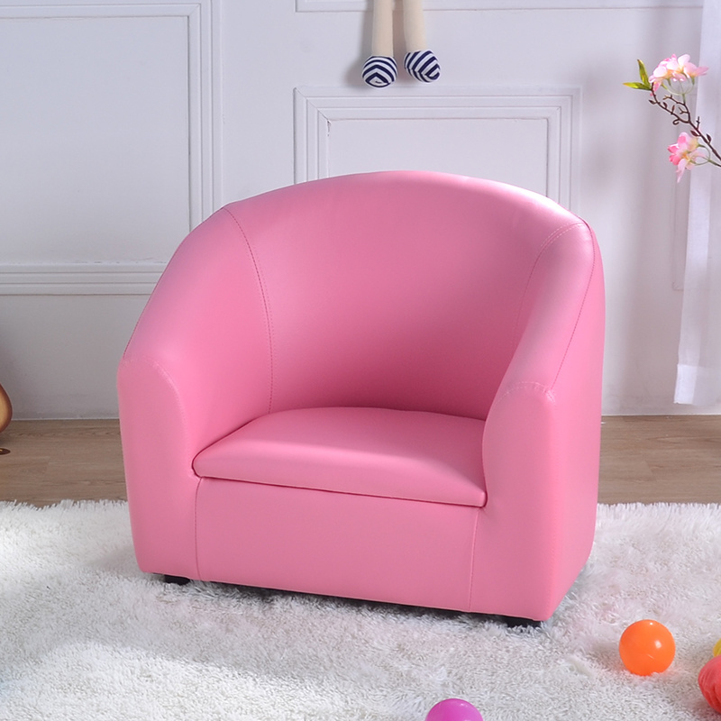 Baby Pink PVC Leather Single Seat Kids Sofa (SF 12)