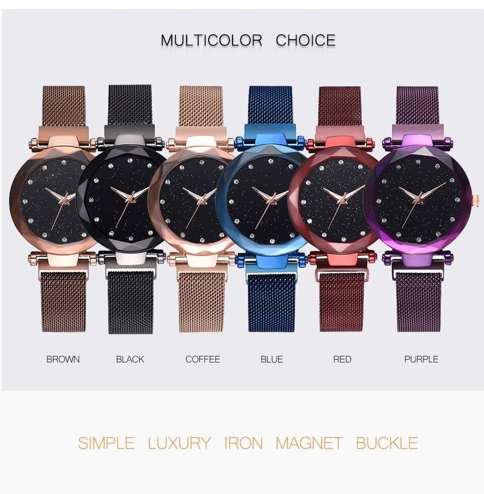 16b03c6773a China Luxury Women Watches Mesh Ladies Clock Magnet Buckle Starry Diamond  Casual Dress Quartz Female Wristwatch-V85 - China Magnet Clock