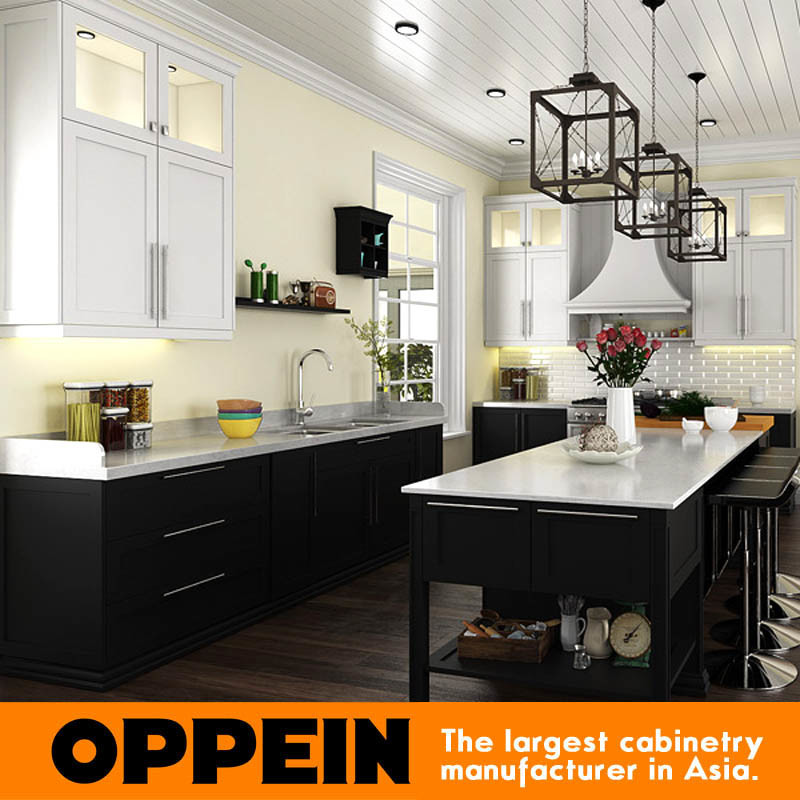 [Hot Item] Lacquer Shaker Wholesale Modular Wooden Kitchen Cabinets Sets  with Island (OP15-L14)