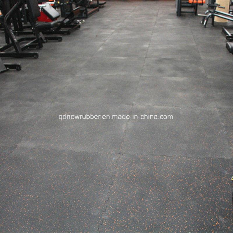 Fitness Center Rubber Flooring Tiles With White Epdm Flecks