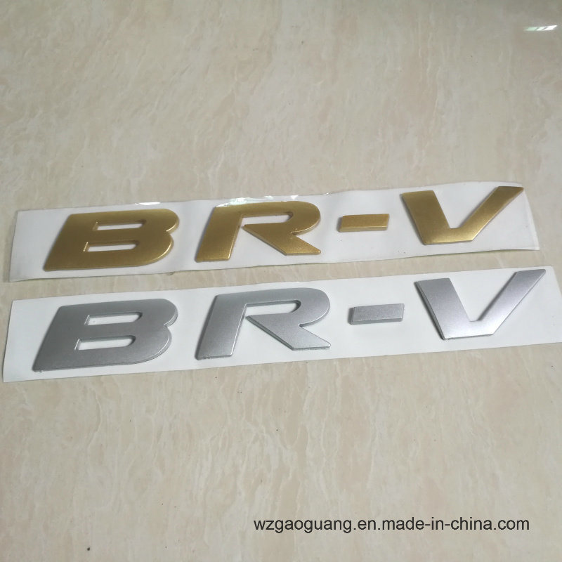 China new coming adhesive elctroplating sliver gold brand logo stickers china car sticker badge