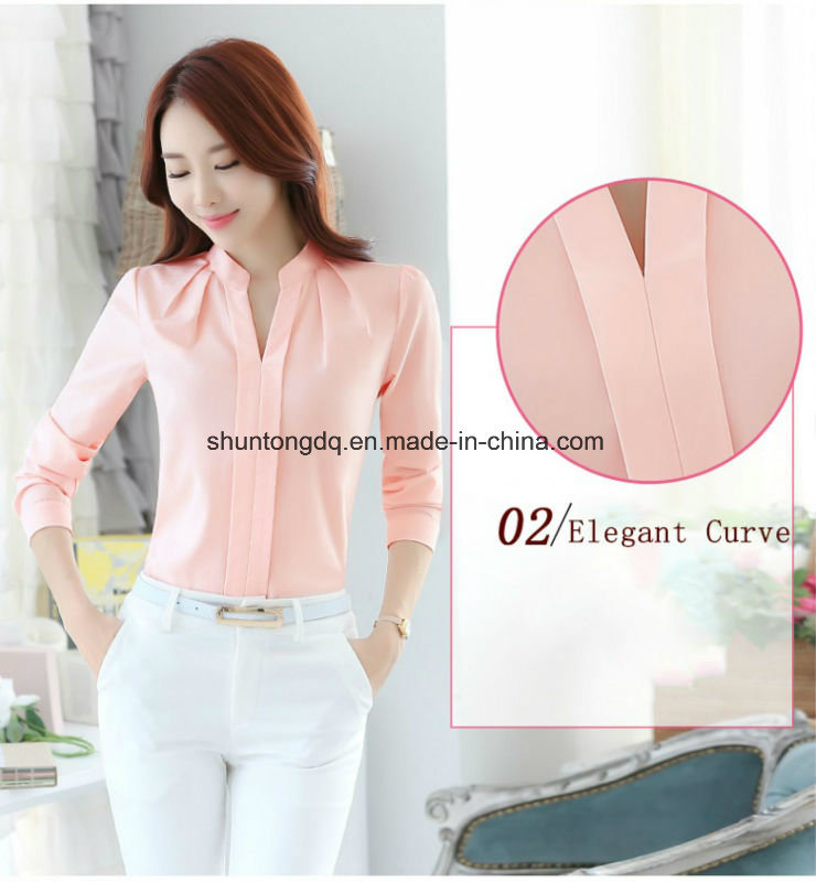 13a65bcf80c Spring Autumn Women Tops Long Sleeve Casual Chiffon Blouse Female V-Neck Work  Wear Solid Color White Office Shirts for Women