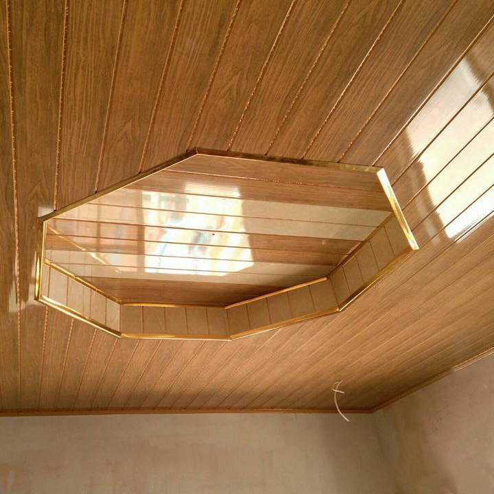 China Interior Roof Decoration Wood Artistic Pvc Ceiling Board Designs China Pvc Ceiling Board Pvc Roof Ceiling