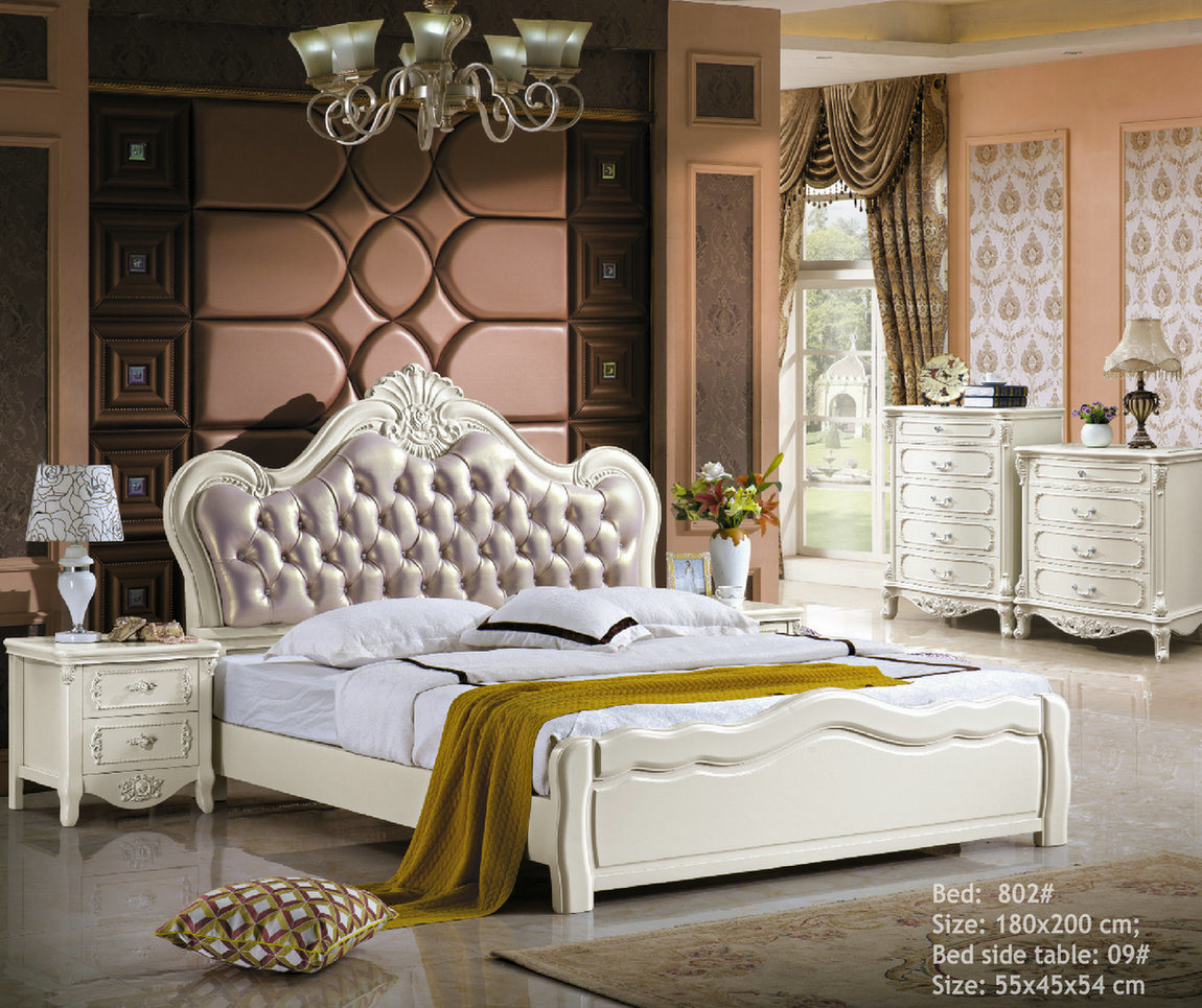 China White Color Apartment Wooden Royal Leather Bed (802) - China Bedroom Set, Leather Bed