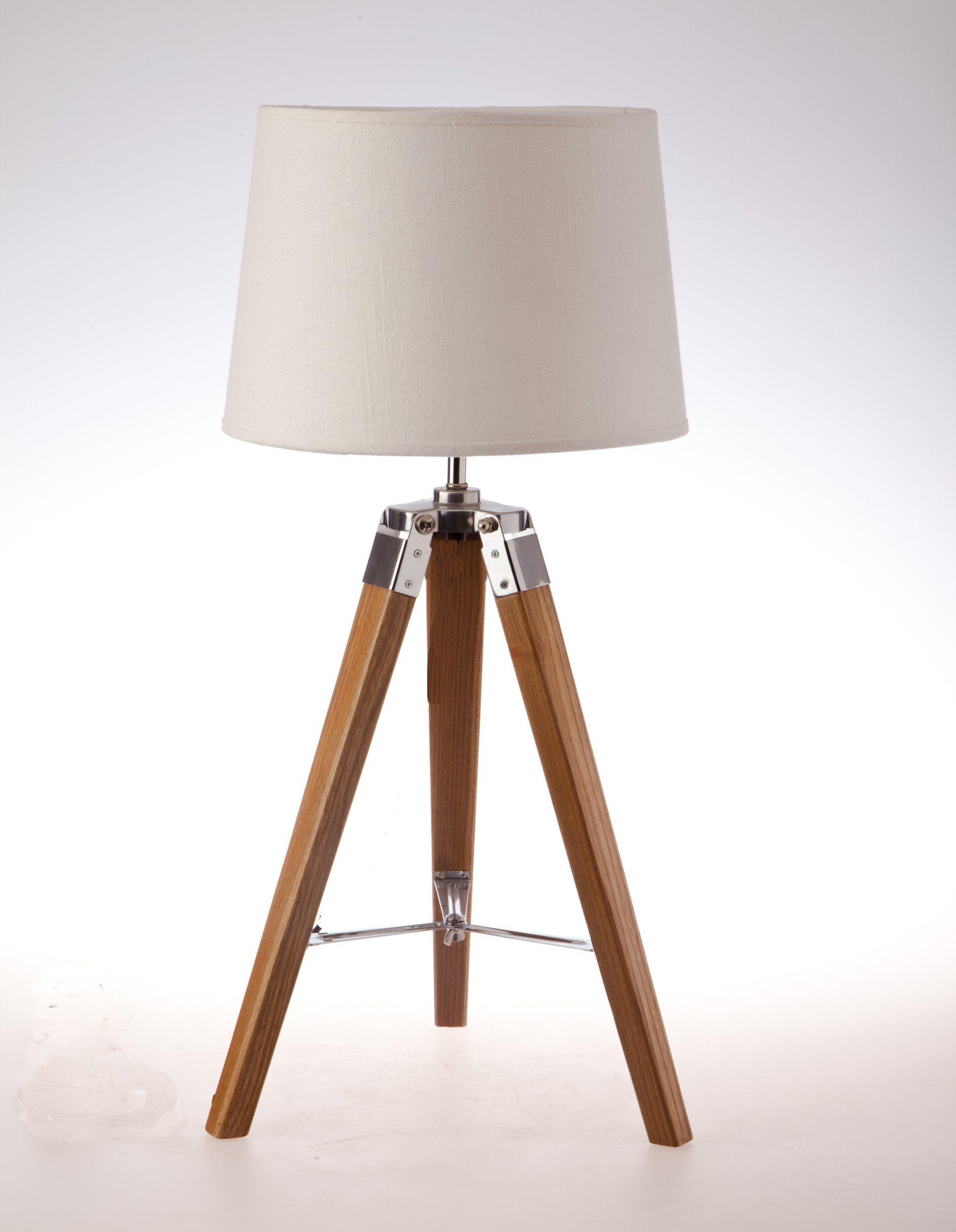 Ki New Old Wooden Color Mini Tripod Table Lamp Furniture Lighting Led Decoration Bulb