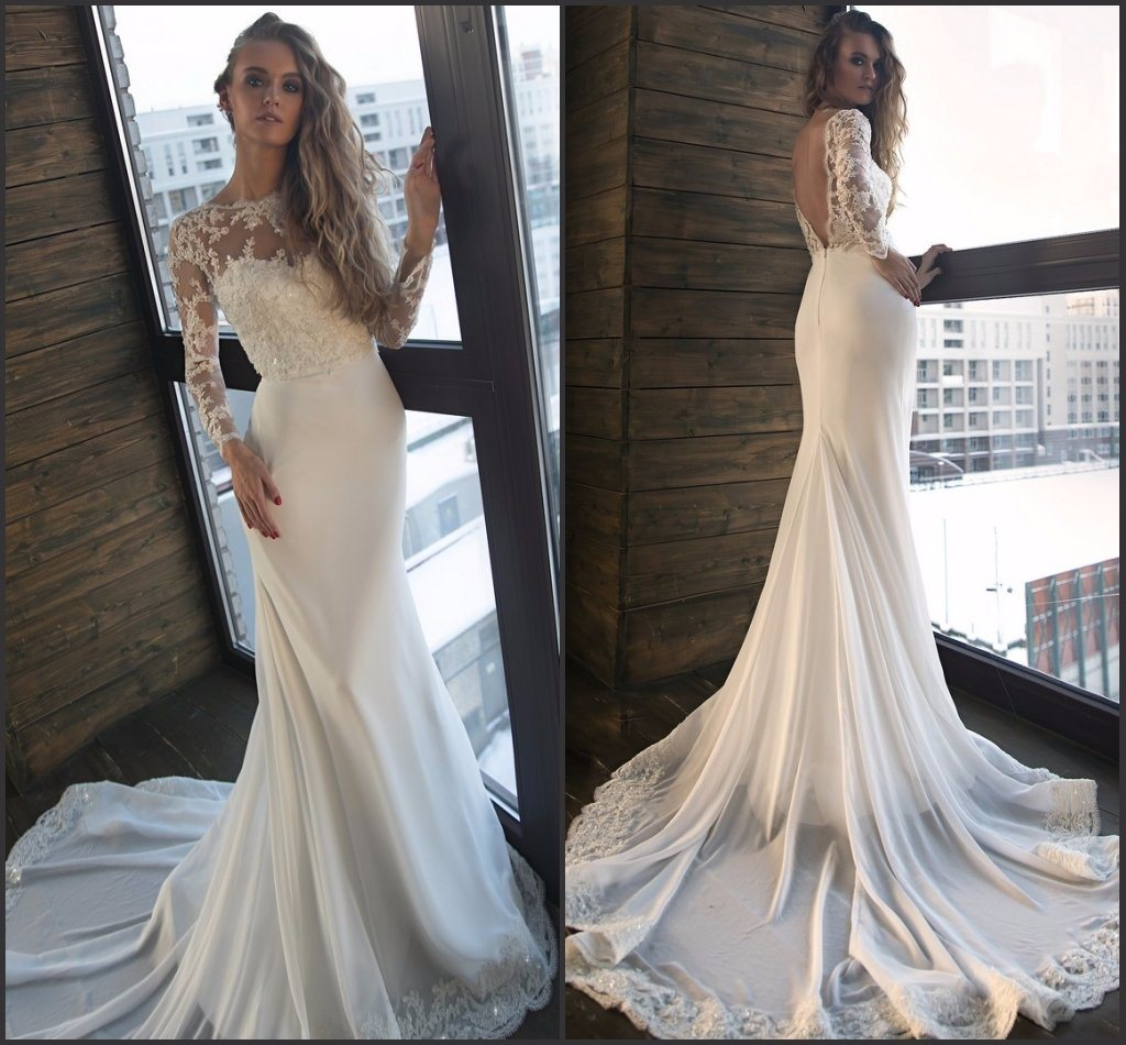 Hot Item Lace Long Sleeves Wedding Gowns Beading Boho Beach Bridal Dress W14216