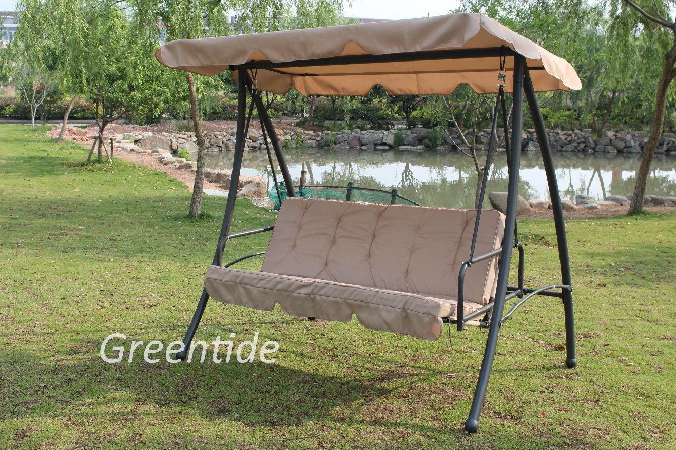 Outdoor Steel Patio Furniture Three Seat Swing Chair Bed