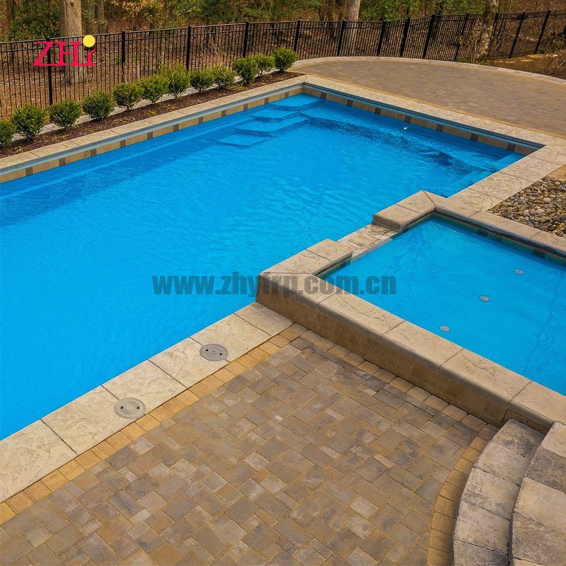 China Rectangle Fiberglass Pool With Spa And Tanning Ledge China Outdoor Swimming Pool And Fiberglass Swimming Pool Price