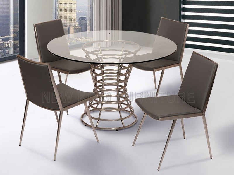 China Modern Glass Upscale Dining Room Dubai Table Chairs NK DTB070