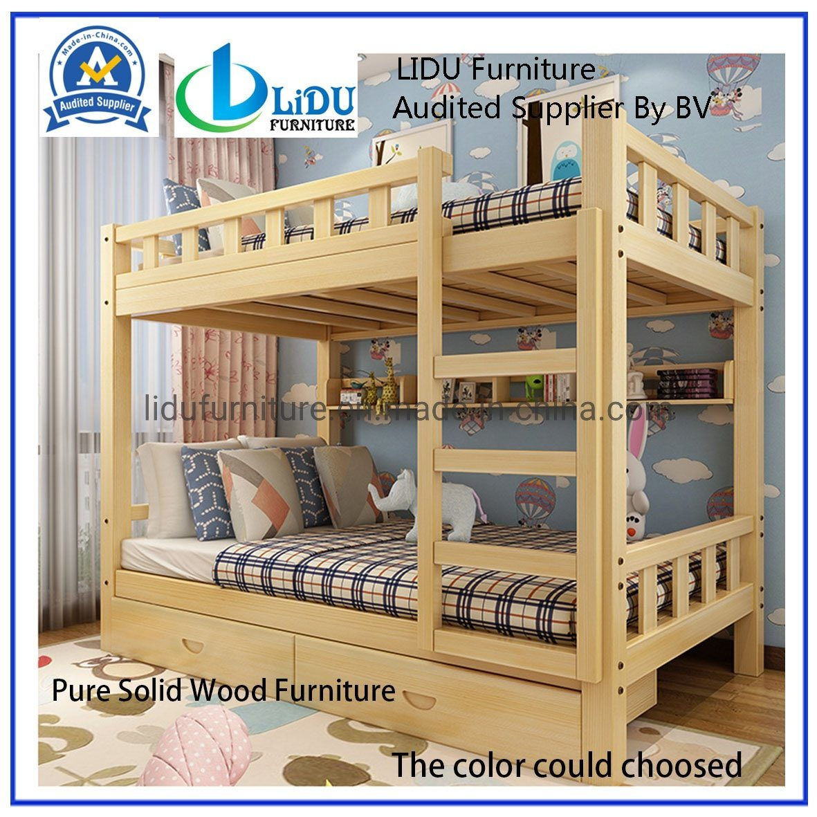 China Bunk Bed Pine Wood Wooden