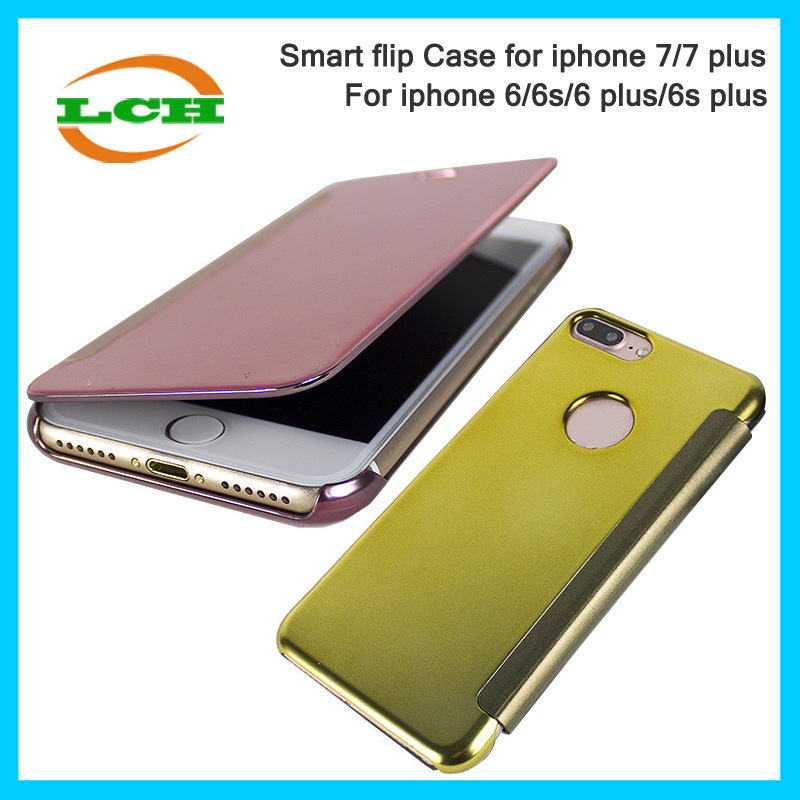 Hotselling Electroplating Mirror Smart Flip Cover Case for iPhone 7/6s/6