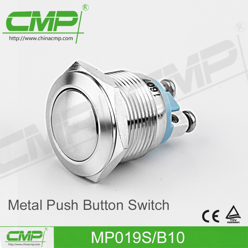 19mm Stainless Steel Push Button Switch with Screw Terminal