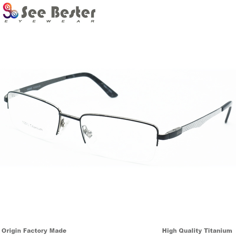 China Fashion 100% Titanium High Quality Half Frame Optical Frames ...