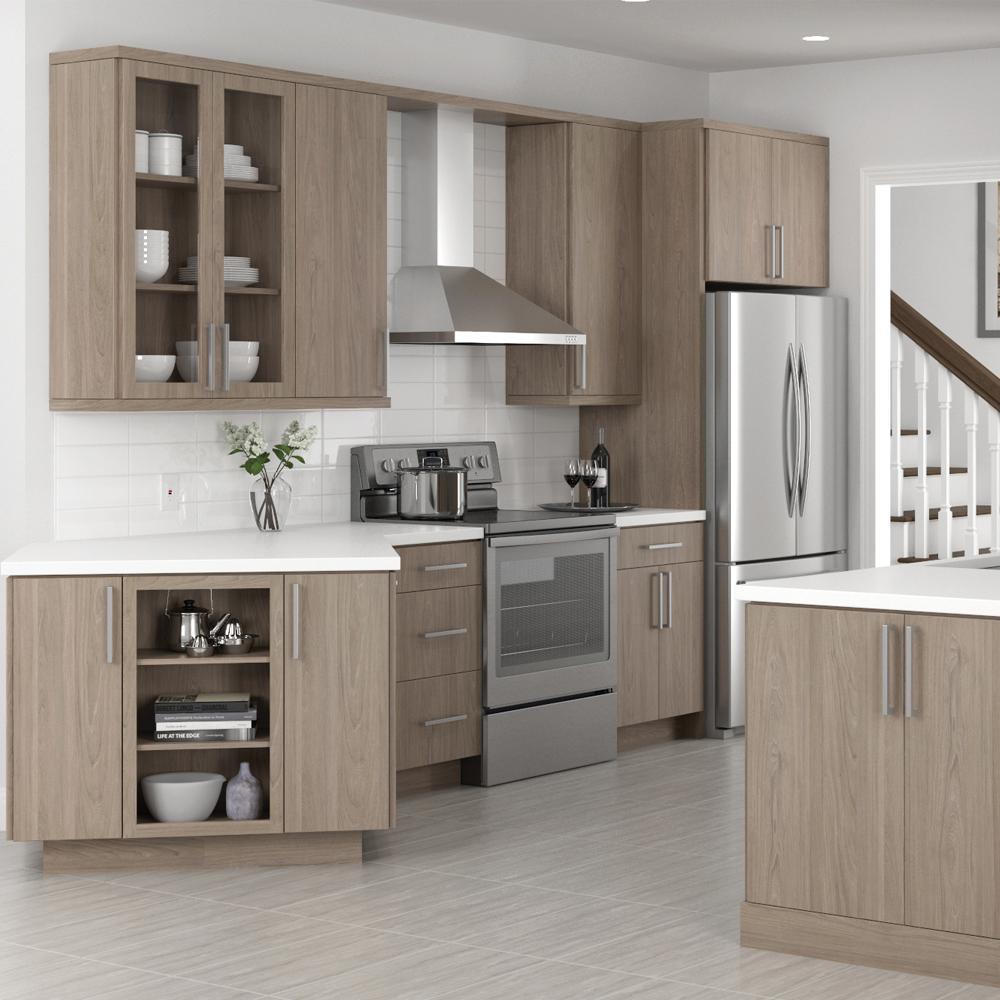 [Hot Item] Frameless Soft-Close Glides Light Brown MDF Kitchen Cabinet